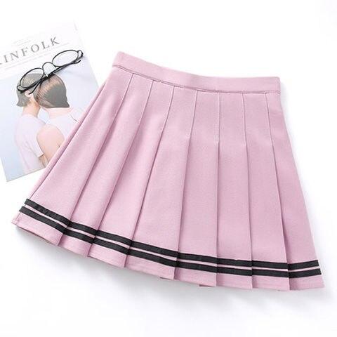 Short skirt female high waist pleated skirt a line skirt college style kawaii skirt female lolita  net red hot sale 4