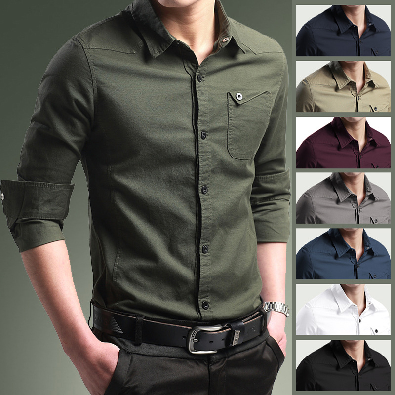 Zogaa Men Casual Shirt Smart Business Solid Shirts Turn-down Collar High Quality Shirts Plus Size M-5XL Men Long-sleeve Shirts