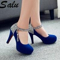 salu shoes woman 2019 Women Pumps Fashion Classic High Heels Shoes Sharp Head Platform Wedding Women Dress Shoes Plus Size 34 43