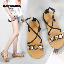Hollow Sandalias De Verano Para Mujer Concise Leisure Flat Sandals Fashion Retro