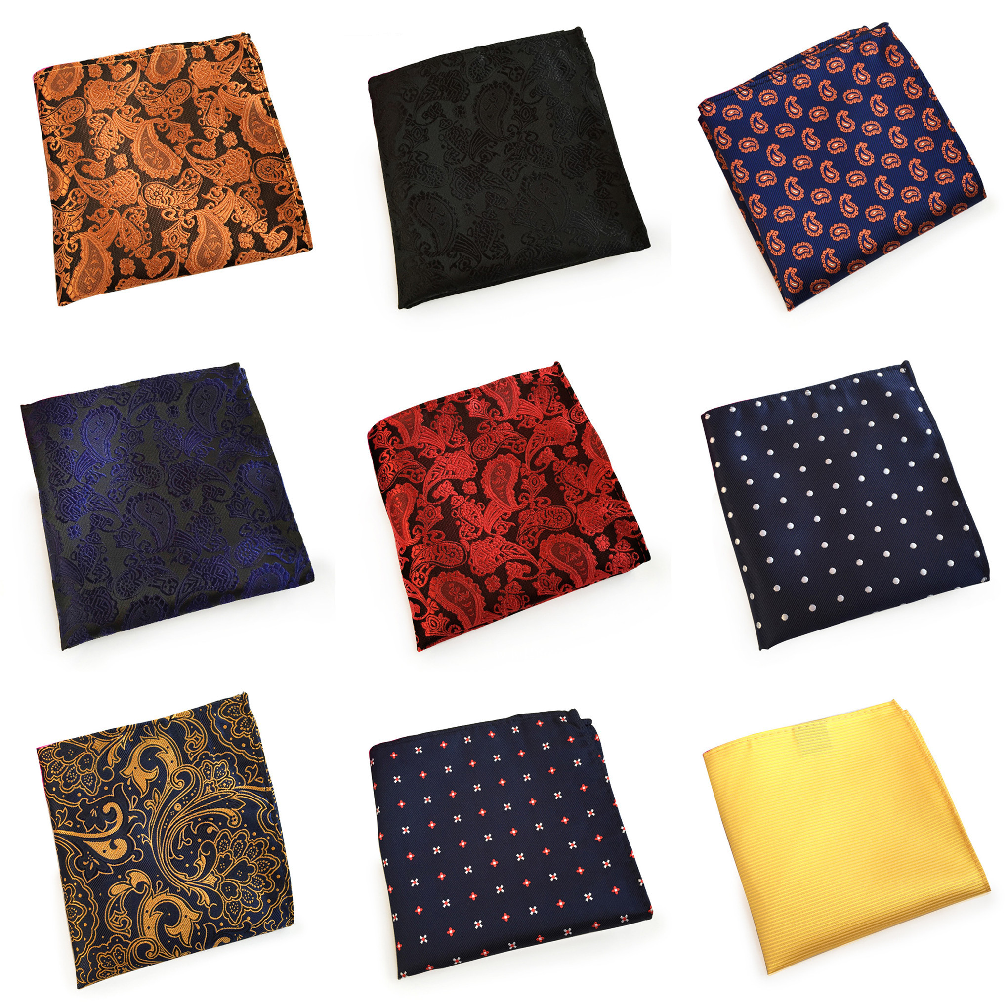 55 Style Classy Paisley Floral Solid Pattern Mens Silk Handkerchiefs Red Gold Blue Black Yellow Men Wedding Pocket Square A068