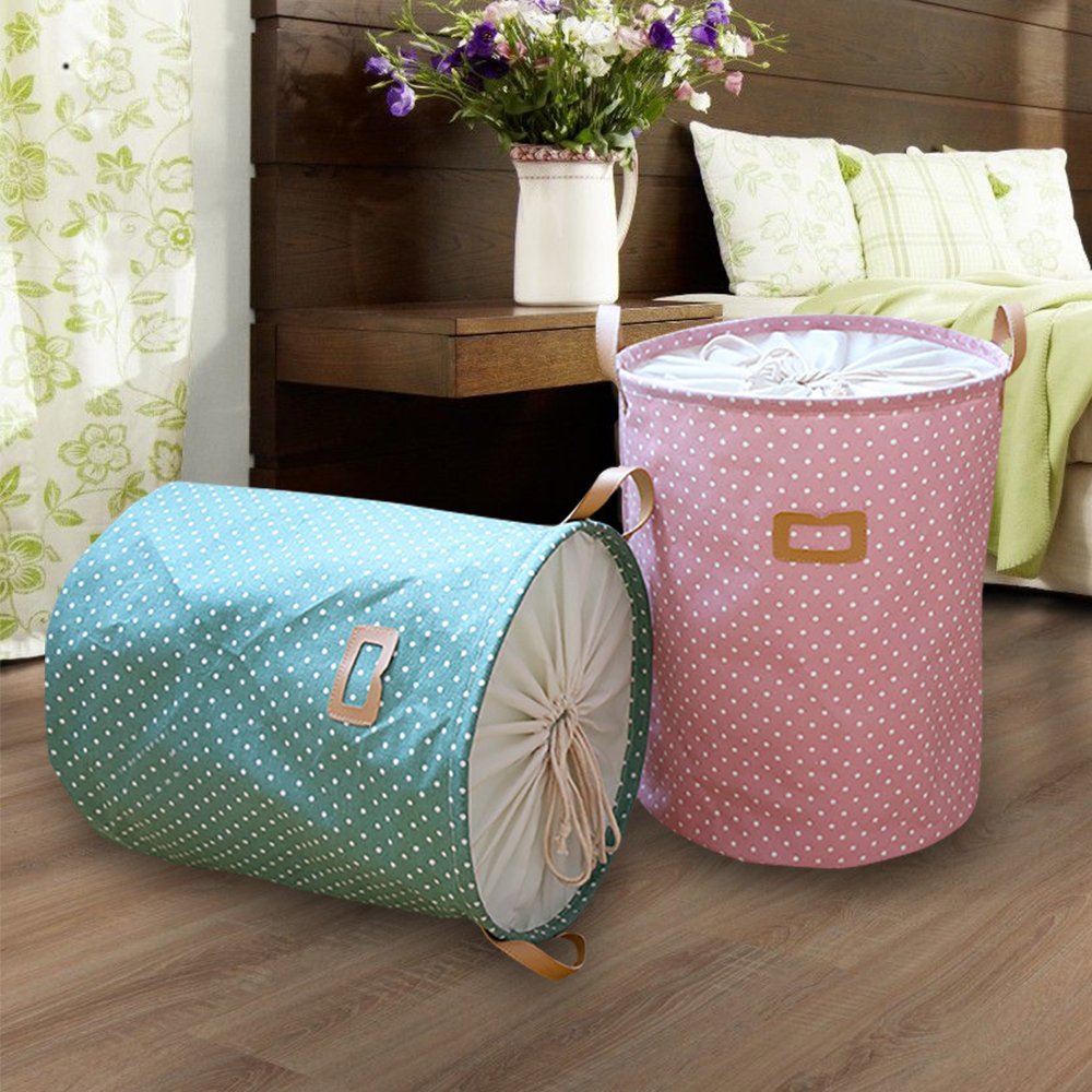 Cotton Linen Collapsible Closure Laundry Basket Storage Bucket Toys Sundries Snacks Organizer