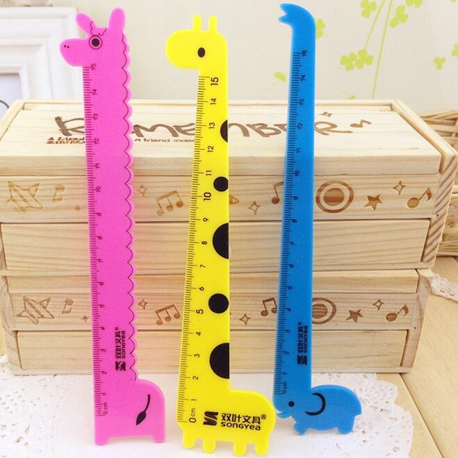 1pcs/lot Cute Cartoon Giraffe Alpaca Elephant Design Plastic Straight Ruler School Office Stationery Gifts