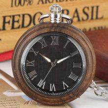 Черное дерево кварцевые карманные часы светящийся указатель