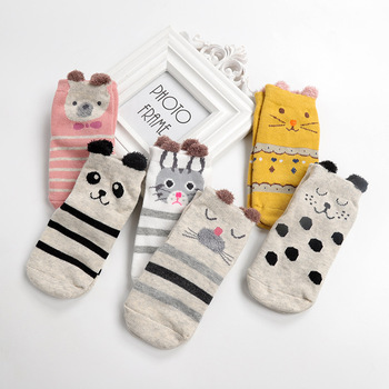 3 Pairs/lot Autumn And Winter Baby Girls Boys Cute Cartoon Non-slip Cotton Toddler Floor <font><b>Socks</b></font> <font><b>Animal</b></font> Pattern Baby Shoes image