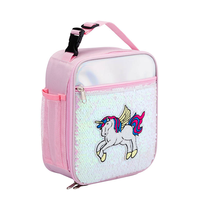 Heopono New Design Fashion High Quality Insulin Cooling Bag Unicorn Insulated Kids Sequins Thermal Lunch Bag Box