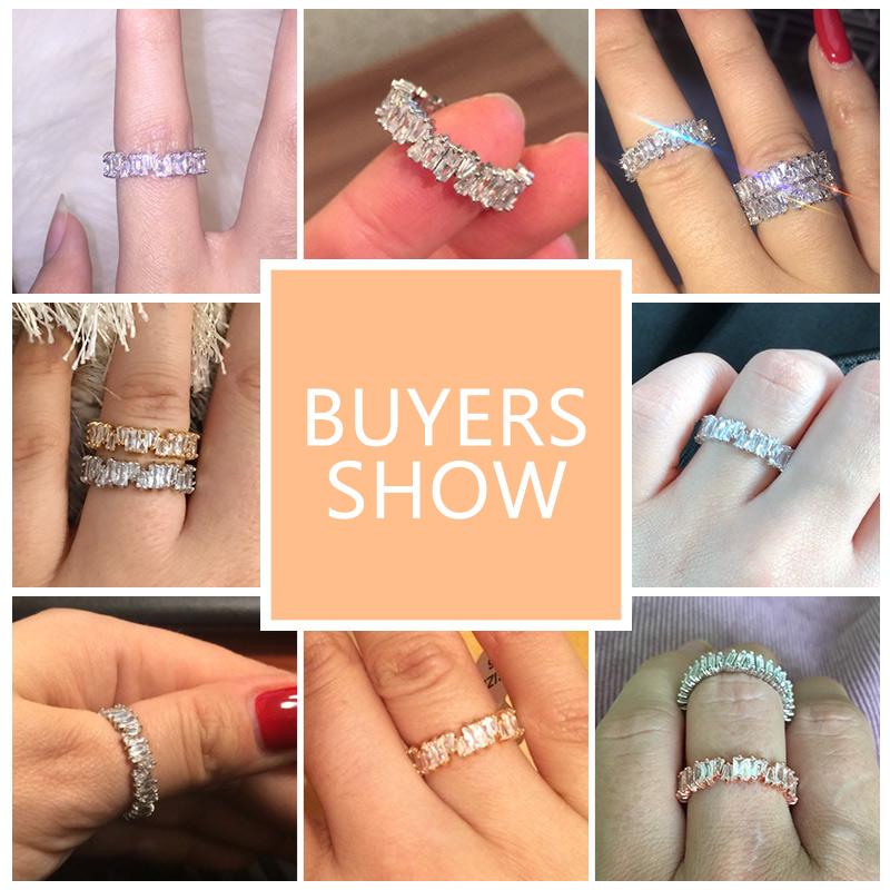 ZAKOL Fashion Luxury Multicolor Charm AAA Baguette Cubic Zirconia Wedding Rings for Women T Shape Stone Party Jewelry FSRP252