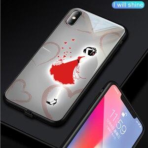 Image 5 - حافظة هاتف من الزجاج المقسى مضيئة للبنات مطبوع عليها نجوم وردية + غطاء زجاجي لهاتف آيفون 11 برو ماكس XS Max XR XS X غطاء يونيكورن
