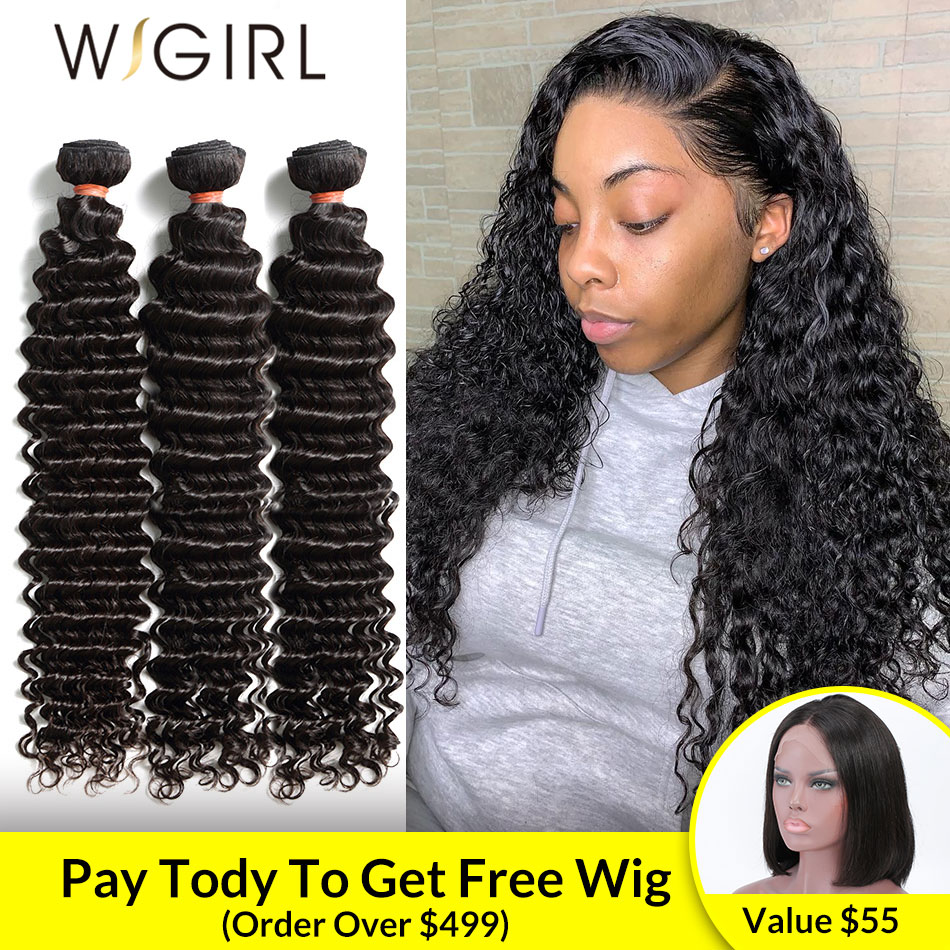 Wigirl 1 3 4 Brazilian Hair Weave Bundles Water Deep Wave 100% Human Hair Long 28 30 Inch Curly Double Drawn Raw Virgin Vendors