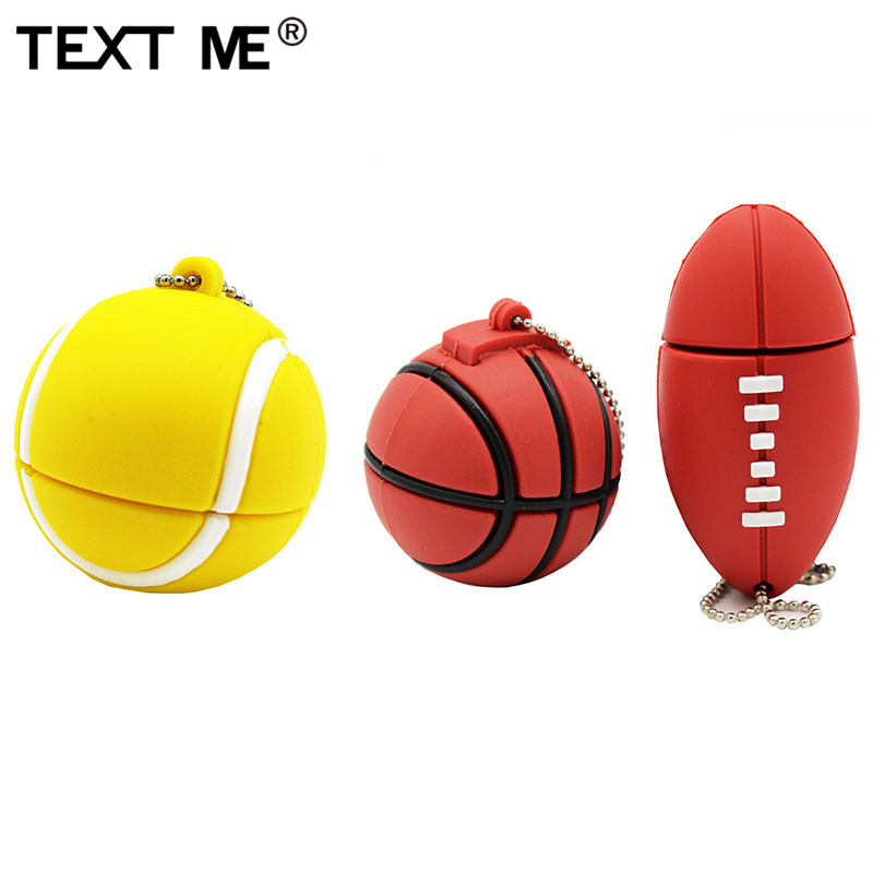 TEXT ME 64GB Cartoon Tennis Basketball Football  Model Usb Flash Drive Usb 2.0 4GB 8GB 16GB 32GB  Pendrive