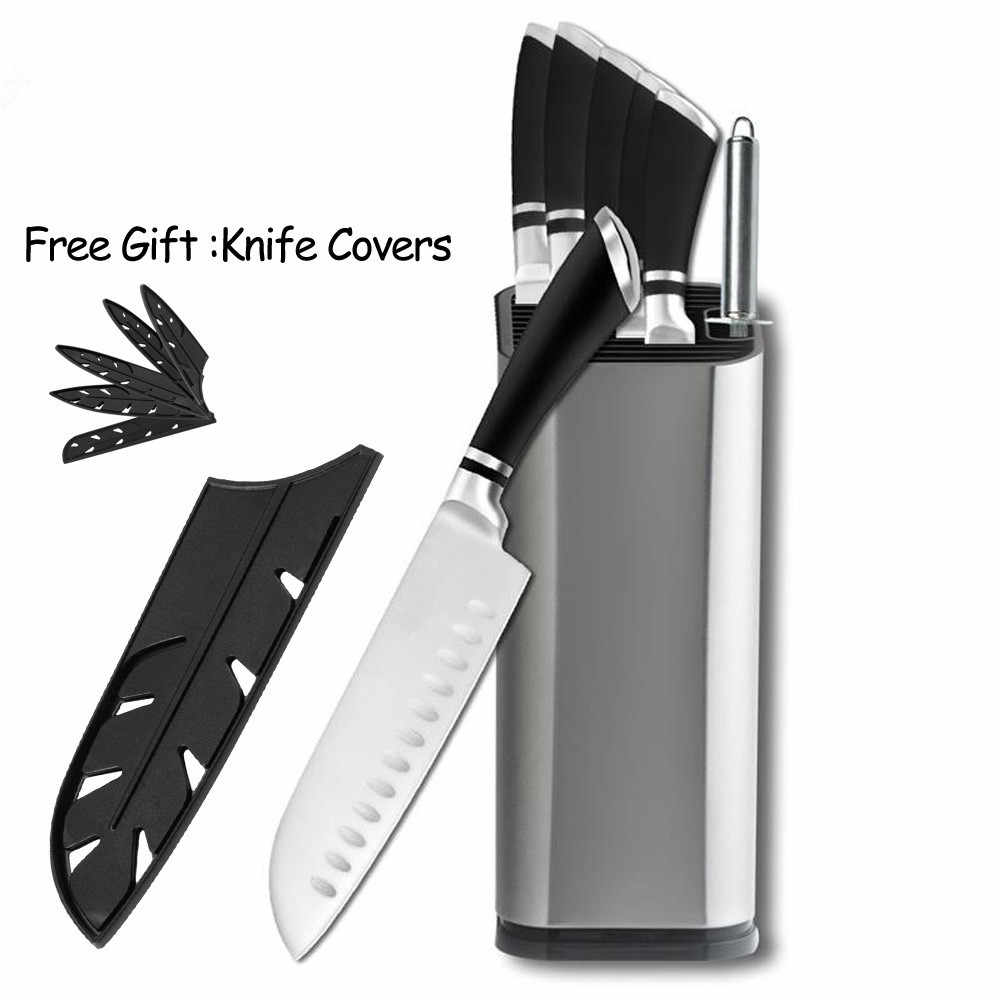 Stainless Steel Knives Kitchen Knife Set Stand Sharpener Paring Utility Santoku Chef Slicing Bread Steel Knives Accessories