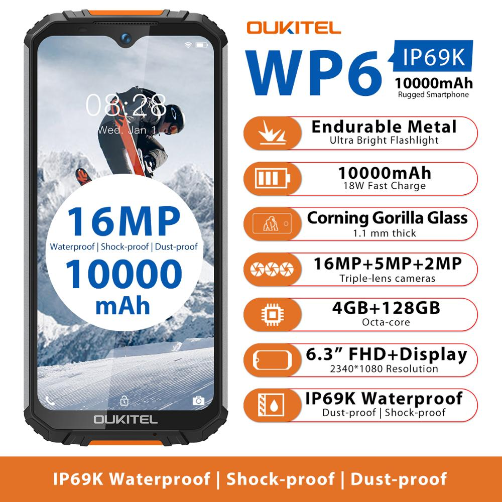 OUKITEL WP6 IP68 Rugged Waterproof 4GB 128GB MT6771 Octa Core 9V/2A 10000mAh 16MP Triple Camera Android 9.0 Mobile Phone