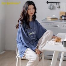 Mulher conjunto de pijama 100% algodão estilo solto pulôver lazer homesuit algodão loungewear pijamas oversized abacate impressão pijama