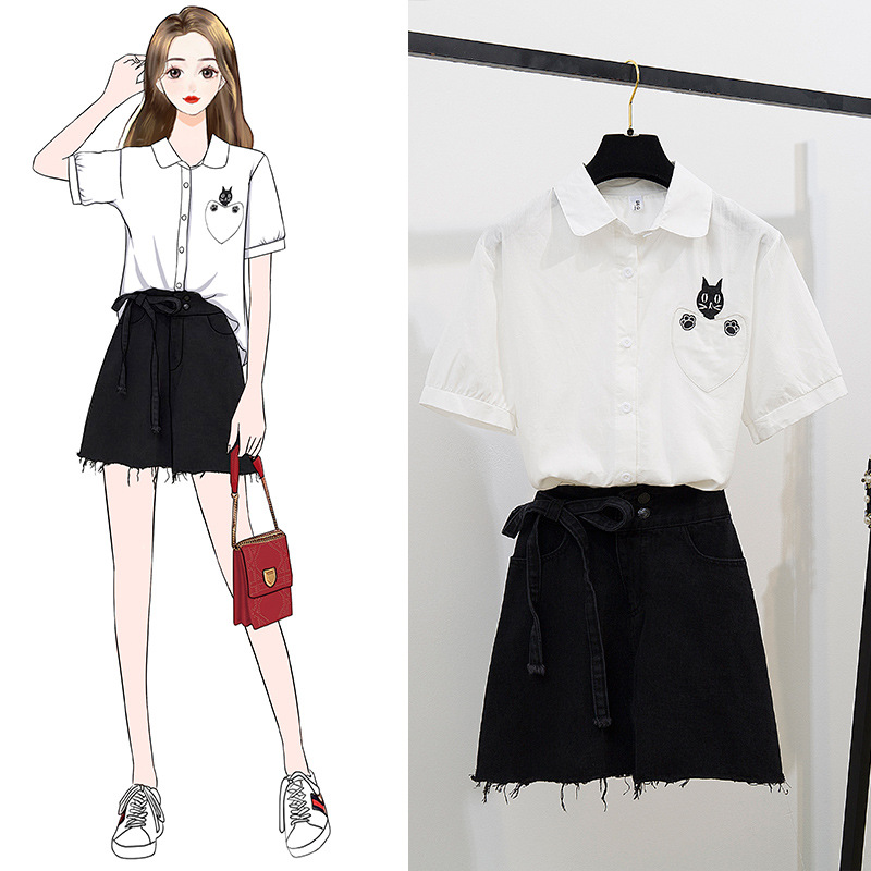 Two-Piece Set Cat Pocket Fold-down Collar Shirt Cowboy Bandage Cloth Cowboy Skirt A- Line Short Skirt Women's