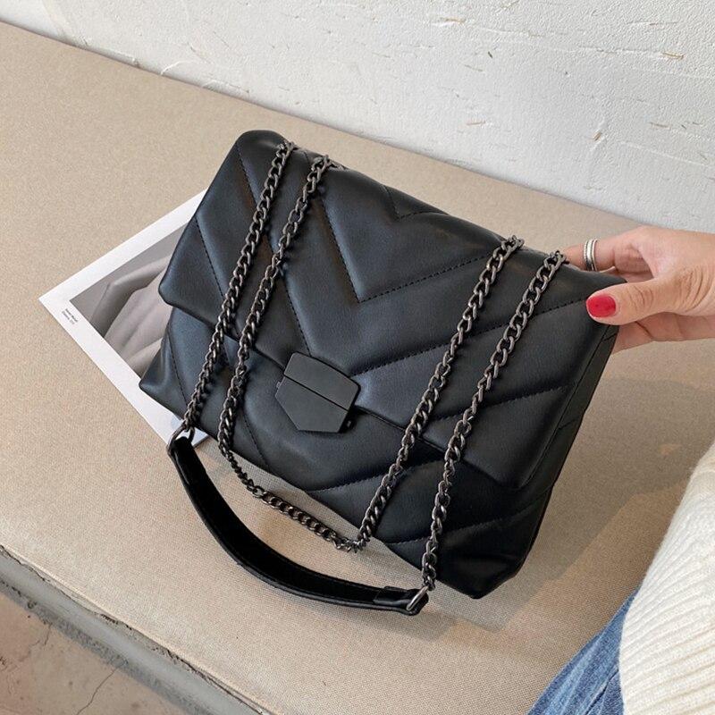 Сумка кросс-боди Женская с цепочкой, повседневный саквояж на плечо, дизайнерский чемоданчик из экокожи, мессенджер