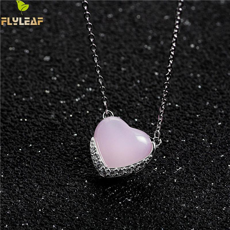 Flyleaf Heart-shaped Opal Cubic Zirconia Necklaces & Pendants Real 925 Sterling Silver Necklace For Women Chain Fine Jewelry