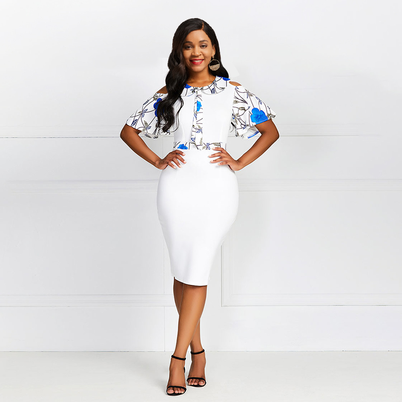 Simple Sexy Club Summer African White Elegant Plus Size Women Dresses Bodycon Ruffle Sleeve Party Print Strapless Female Dress