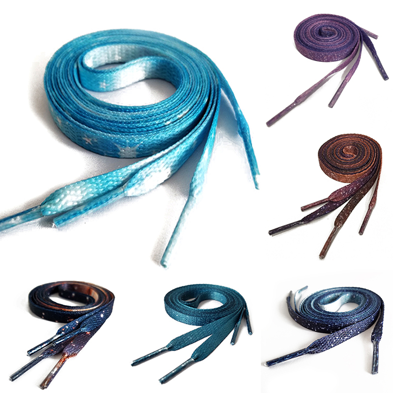 1pair 120-160cm Printed Flat Canvas Shoelaces Starry Series Sneaker Shoe Laces Boots Strings Shoes Accessories