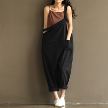 Summer Autumn Rompers Womens Jumpsuits Vintage Sleeveless Backless  Cotton strap Casual Loose Solid Overalls Strapless Paysuits