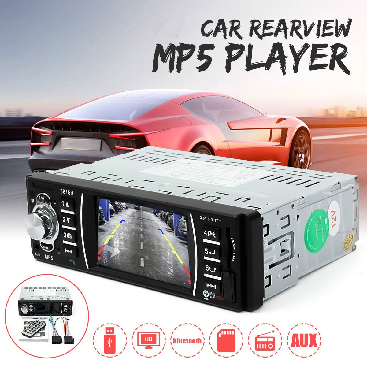 1 DIN 12V Car MP5 Player Stereo FM Radios Audio Video Support Bluetooth USB SD AUX MMC Stereo Radio MP3 FM Touch Screen