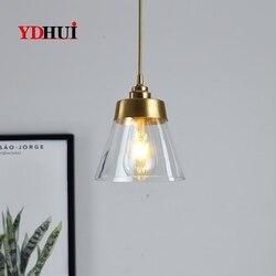 Prostota w stylu nordyckim ins japońskie retro lekka luksusowa aleja nocna jadalnia do baru szklana jednoczęściowa mosiężny żyrandol w Wiszące lampki od Lampy i oświetlenie na