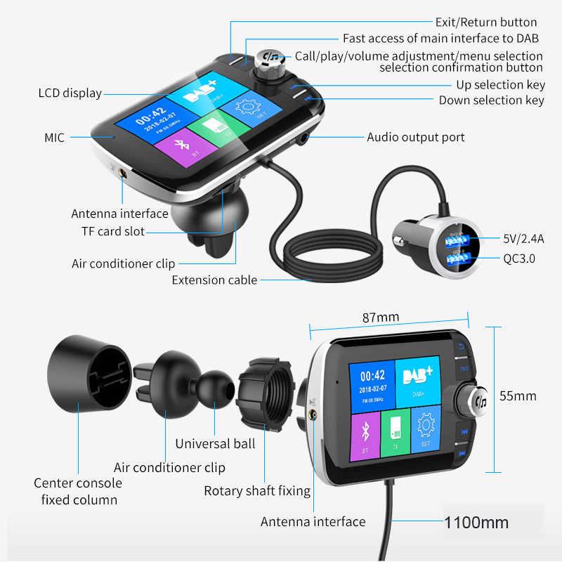 Jilang Auto Radio DAB + Radio Tuner Digitale Rundfunk Empfänger mit FM Transmitter Konverter Stecker und Spielen Adapter USB Ladegerät