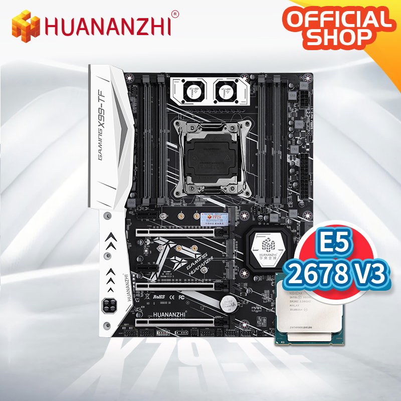 HUANANZHI X99 TF X99 Motherboard Intel with XEON E5 2678 V3 DDR3 DDR4 RECC memory combo kit set NVME SATA 3.0 USB3.0 ATX Server 2