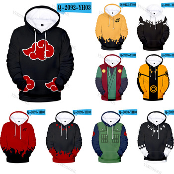 Naruto Hoodies Uchiha Syaringan Hooded Boys Uzumaki Naruto Pullover Men/women Cartoon Printed Clothes