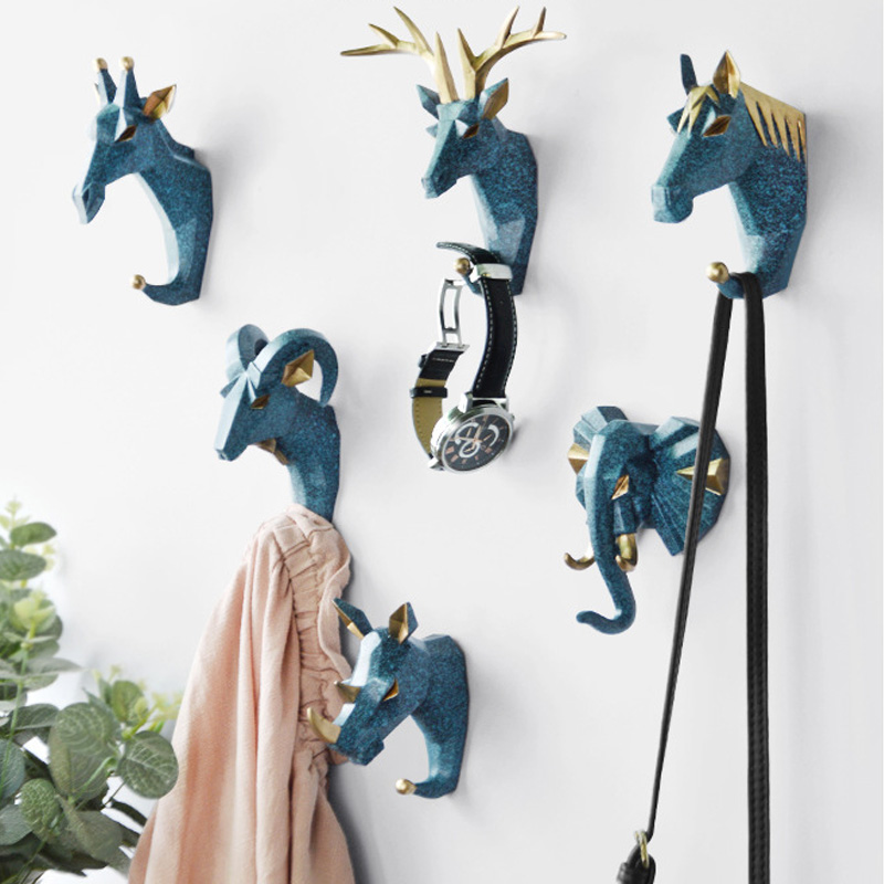 Hook Hanging Key Hook Nordic Multifunctional Animal Free Punch Hook Head Coat Hook Wall Coat Hook Home Decoration