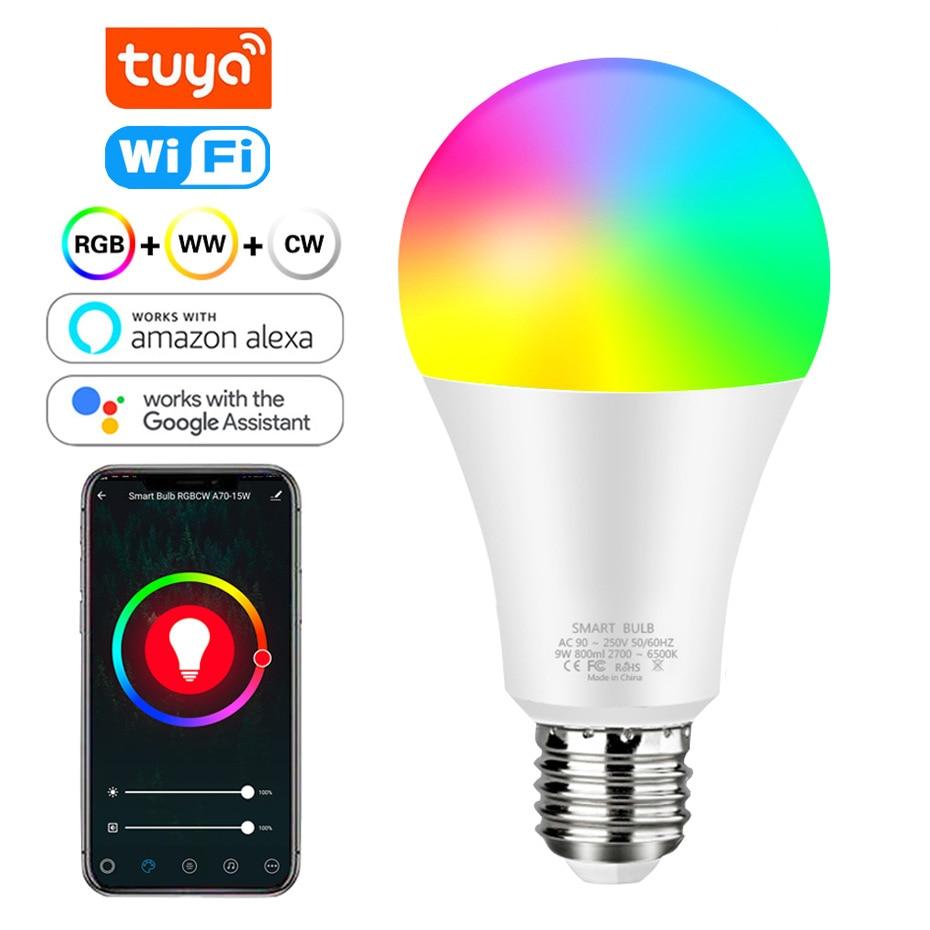 Умная лампа Tuya с Wi-Fi, 12 Вт, 15 Вт, изменение цвета, RGB Светодиодная лампа e27, 110 В, 220 В, дистанционное управление через приложение, функция Google Home