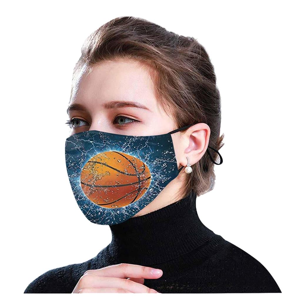 Маска принт баскетбольного мяча маска для лица для взрослых для фанатов стиля унисекс маска для полости рта регулируемый ушной веревка отк...
