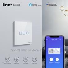 SONOFF T0 ue TX Wifi ekran dotykowy bezprzewodowy przełącznik światła inteligentny dom 1/2/3 Gang głos/APP pilot praca z Alexa Google Home