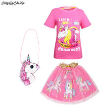 Baby Princess Clothes unicorn Dress Children Party For Girl Birthday Gift Vestidos Christmas Sets D014