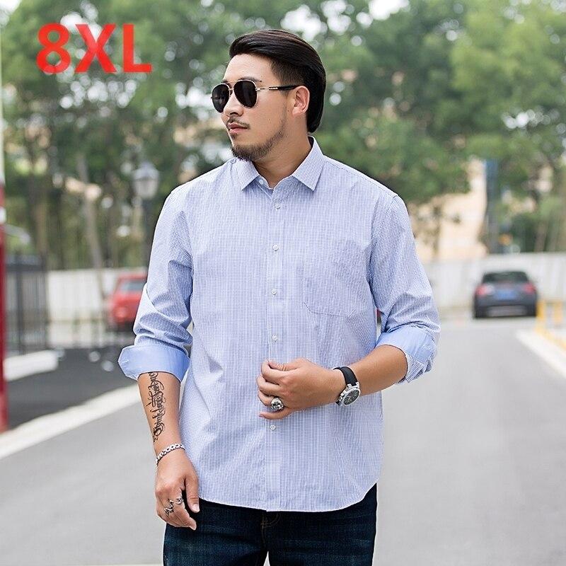 10XL 8XL 6XL 5XL  Casual Shirts Men Fashion Long Sleeve Plaid Shirt Camisa Masculina Men Shirt Solid Color Shirt Male Brand