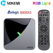 Caixa da tevê da luz do rgb do ar a95x f3 android 9.0 amlogic s905x3 8k 4gb 64gb wifi h.265 4k 60fps youtubetvbox android 9 a95xf3