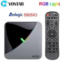 A95X F3 Air Rgb Licht Tv Box Android 9.0 Amlogic S905X3 8K 4Gb 64Gb Wifi H.265 4K 60fps Youtubetvbox Android 9 A95XF3