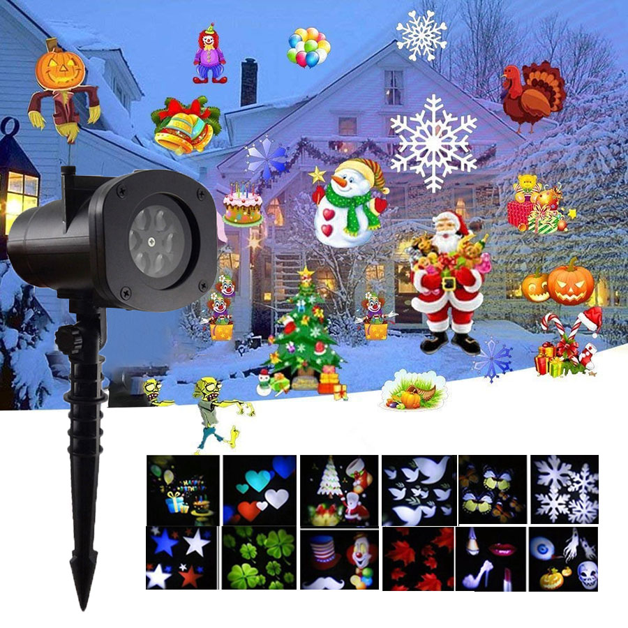 Thrisdar 12 Pattern Snowflakes Christmas Laser Projector Lamp Outdoor Disco Party Stage Light Garden Star Laser Spotlight|Stage Lighting Effect| |  - title=