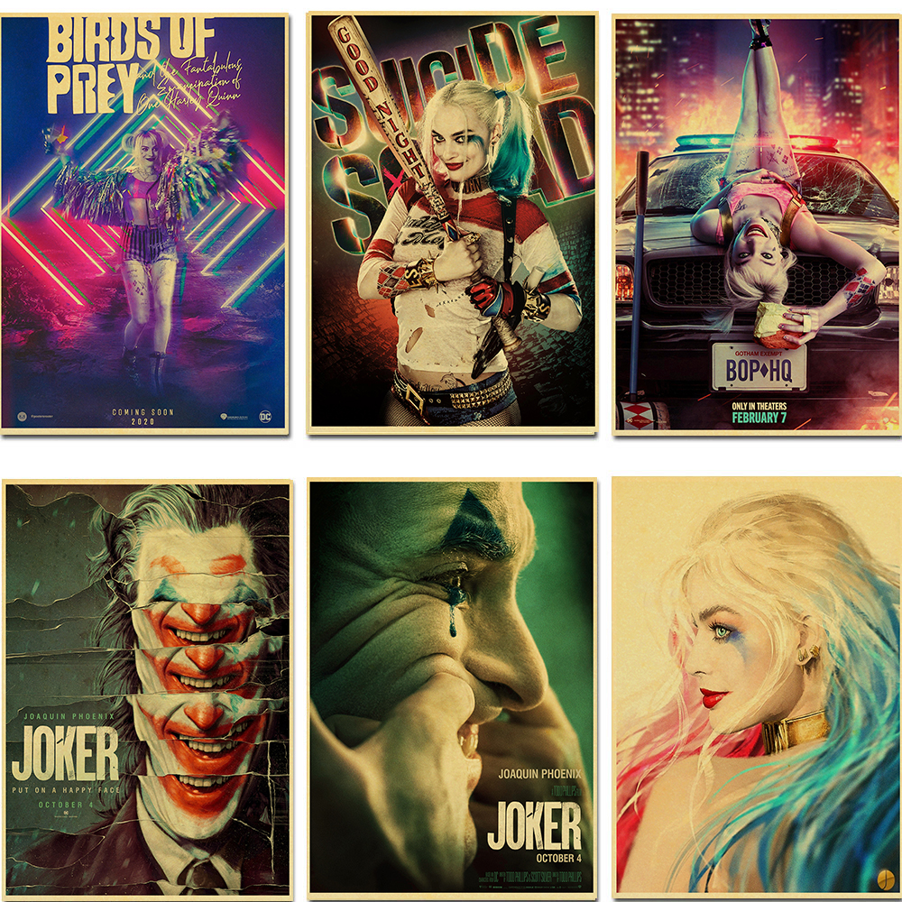 Birds Of Prey Harley Quinn Joker Cool Retro Movie Poster Vintage Hd Prints Home Room Bar Wall Decoration Posters Art Painting Painting Calligraphy Aliexpress