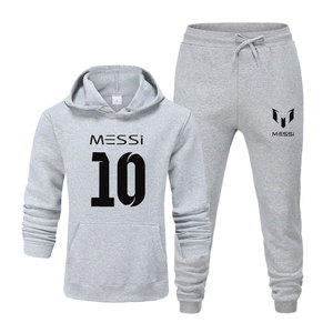 Image 5 - Новинка 2020, спортивный костюм, модная мужская спортивная одежда с Месси 10, комплект из двух предметов, толстая хлопковая флисовая толстовка + штаны, мужской спортивный костюм