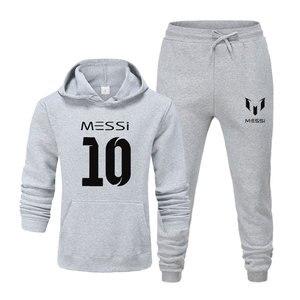 Image 5 - Yeni 2020 eşofman moda messi 10 erkek spor iki parçalı setleri pamuk polar kalın hoodie + pantolon spor takım elbise erkek