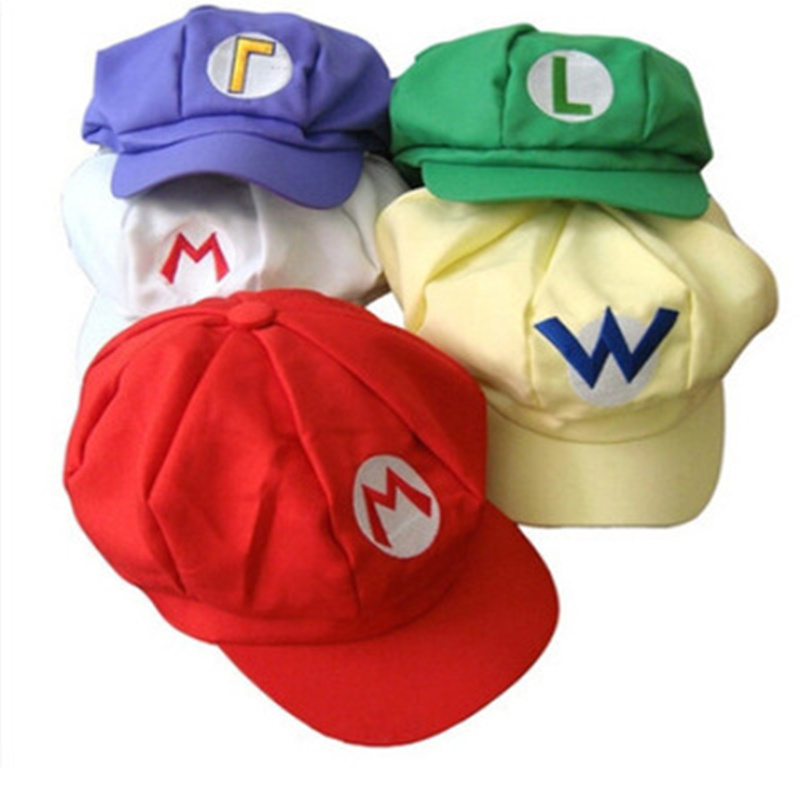 5 Colors! Anime Super Mario Hat Cap Luigi Bros Cosplay Baseball Costume Birthday Present Mario Caps Children Christmas Gift G