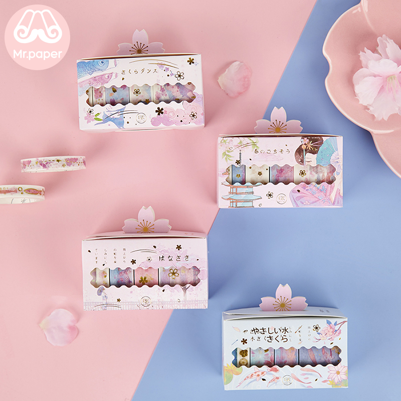 Mr Paper 5pcs/box Gold Stamping Japanese Sakura Cherry Blossom Bullet Journaling Washi Tape Scrapbooking Deco Masking Tapes