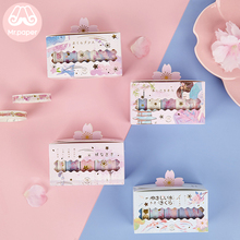 Mr Paper 5pcs/box Gold Stamping Japanese Sakura Cherry Blossom Bullet Journaling Washi Tape Scrapbooking Deco Masking Tapes