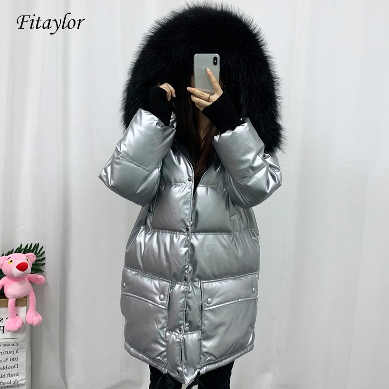 Fitaylor Winter Jacket Real Natural Fur Bright Side Down Coat Women Thicken Medium Long Parka Female Waterproof Duck Down Coat