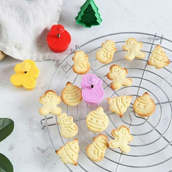 4pcs Stamp Biscuit Mold 3D Cookie Plunger Cutter Pastry Decorating DIY Food Fondant Baking Mould Tool Christmas Tree Snowman image