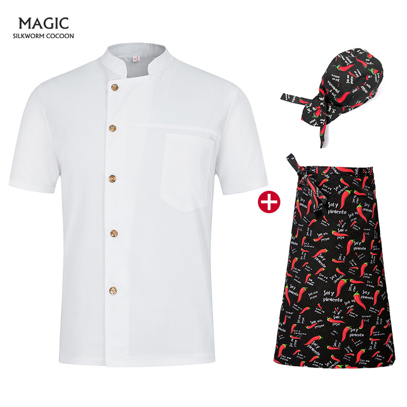 Bread Coffee Shop Restaurant Uniforms Unisex Single-breasted Collar White Chef Uniform Shirts Wholesale Overalls Chef Hat Apron
