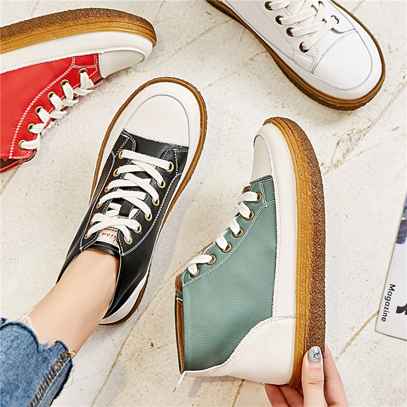 High Quality Beef Tendon Bottom Canvas Shoes Female 2019 Leather Sneakers High To Help Thick-soled Running Shoes Female ZQ-139