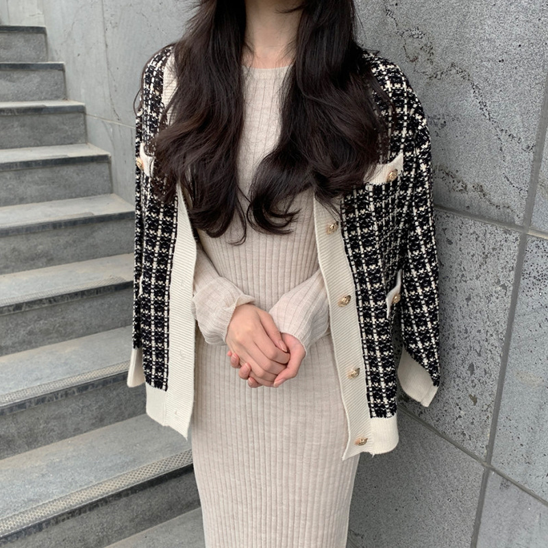Coat Women Plaid Outside Clothes Sweater Coat 2019 New Women Clothes Spring And Autumn Loose Short Knitted Cardigan Coat