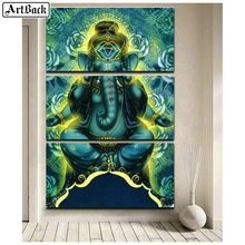 Religion 5d diamond painting ganesha full square drill icon crystal mosaic embroidery living room decoration