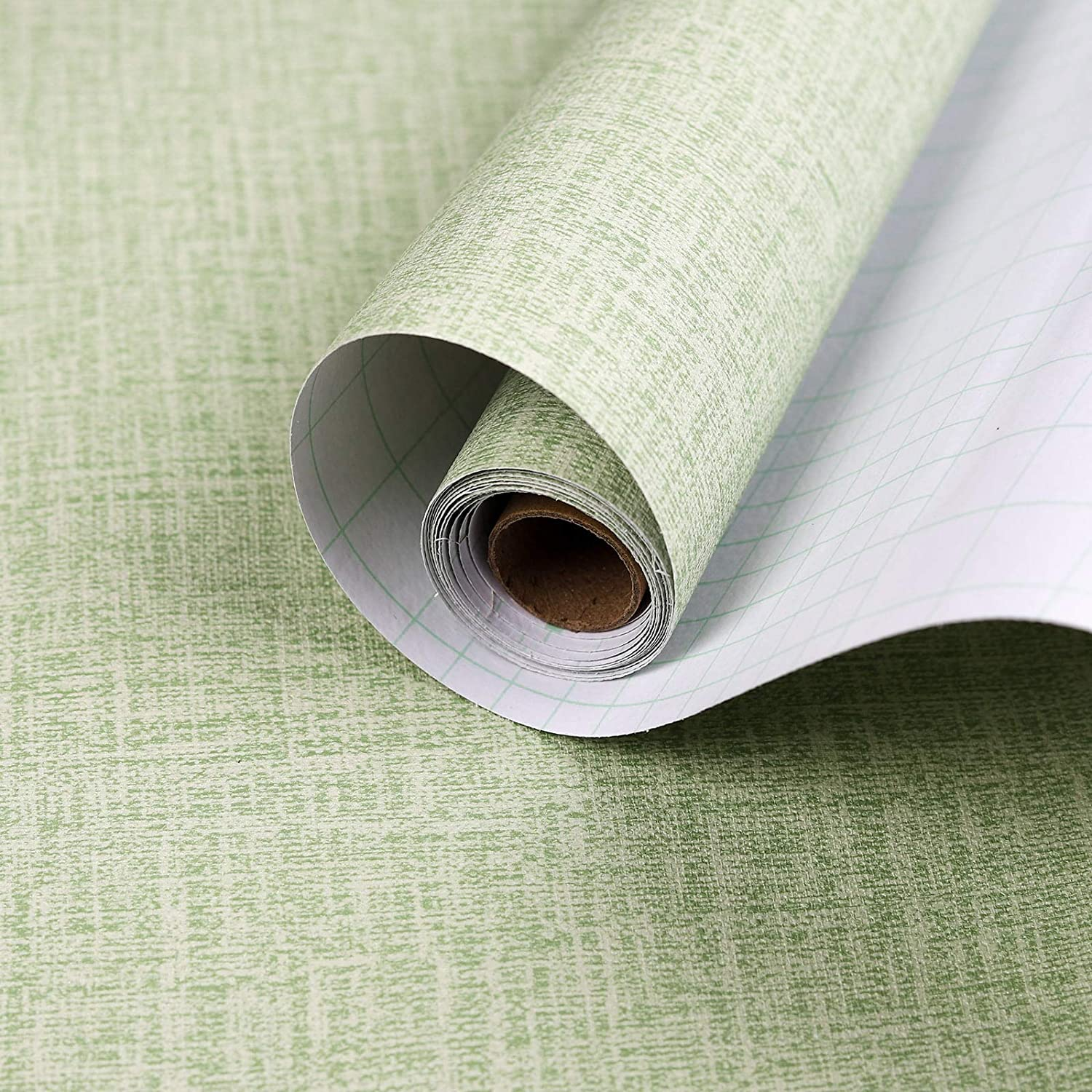 LUCKYYJ Faux Green Grasscloth Linen Wallpaper Peel and Stick Removable Self Adhesive Film Room Wall Decoration Wall Stickers